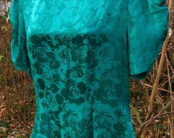 1980s silk dress size 10 in Green NOT Teal, vintage 1980s 80s dress Please See Color Description Below, womens green dress