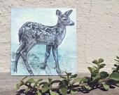 contemporary woodland art: dappled fawn. original mixed-media painting