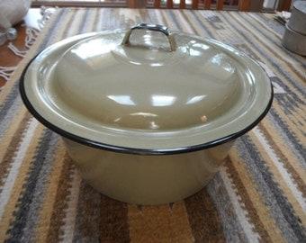 Enamel Pan with Lid, Vintage Green
