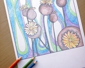 poppy pods coloring page, flower coloring sheet, adult coloring pages, flower coloring page, poppy pod, flower art, instant download