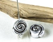 Swirl Spiral bead, Greek Mykonos beads, Rustic snail shell flat metal round, Antique Silver Plated Pewter Nautical 10mm (6 pc)