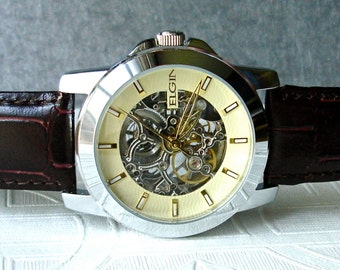 Elgin Automatic Mechanical Wrist Watch Skeleton Movement Silver Brown Leather Men's Birthday Anniversary Graduation Retirement Gift for Him