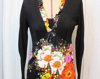 Vintage Dress: Black and Floral Maxi Dress
