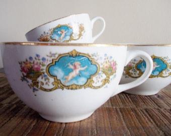 Set of Four Vintage Porcelain Angel Tea Cups