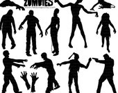 Zombie Silhouettes, Halloween ClipArt, Zombie Clip Art, PNG Digital Stamps + PS Brushes, Commercial Use Halloween Graphic Download