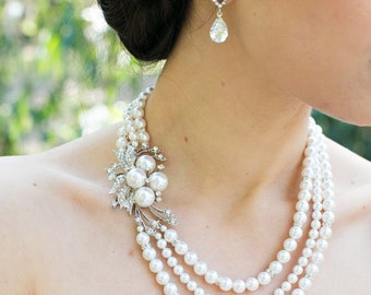 Bridal pearl and crystal necklace, Statement Bridal necklace, Wedding Rhinestone necklace, swarovski crystal and ivory pearl necklace, JULIE