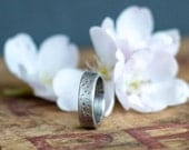 Rustic Sterling Silver Wedding Band - 5mm - Unisex Wedding Ring - Oxidized wedding band - Textured Silver Ring - Unique Wedding Ring