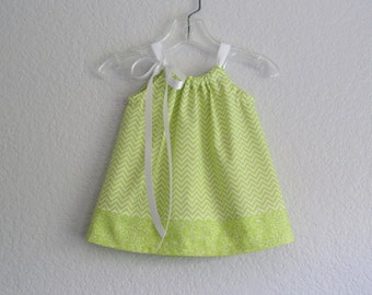 New! Baby Girls Chevron Stripe Dress and Bloomers Outfit -  Infants Chartreuse and White Sun Dress - Size Newborn, 3m, 6m, 9m, 12m or 18m