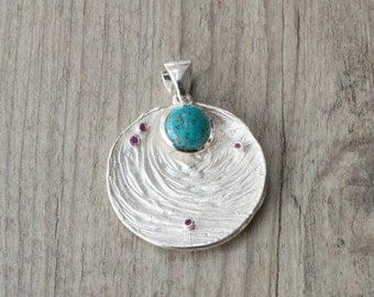 Unique Turquoise Pendant Necklace, Natural Turquoise 925 Silver Large Round Pendant and Chain, Turquoise Gift for Her, Turquoise Jewelry