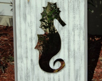 Reversible Head Board Panels, Beachy Weathered Seahorse, Beach House Decor, 2 Headboards In One