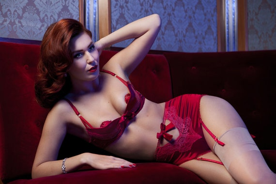 Luxurious Red Silk Quarter Cup Bra Set