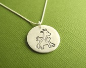 Mother and Twin Giraffe Necklace, New Mom of Twins Jewelry, Two Children Necklace, Fine Silver, Sterling Silver Chain, Made To Order