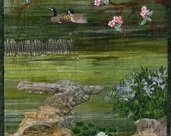Landscape Quilt, Geese Turtles, Rocks, Dogwood Tree, Lake, Water