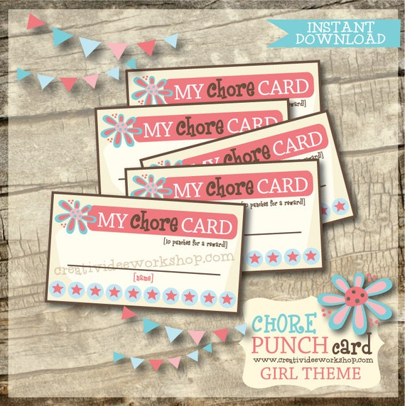 Printable Chore Punch Cards