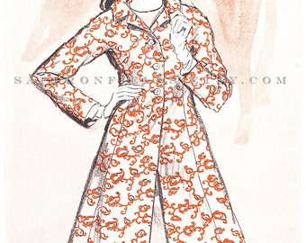 1960s Fashion Illustration, Moygashel Orange Print Coat Dress, Watercolor Ink, Magazine Advertisement Original Vintage Ad