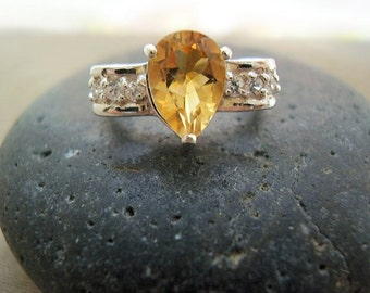 Genuine Citrine & White Topaz Bow Ring, Solid Sterling Silver Ring, Pear Engagement Ring, Alternative Wedding Ring, November Birthstone