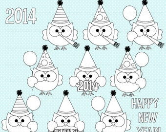 happy new year stamps new years - Happy New Year Owls Digital Stamps