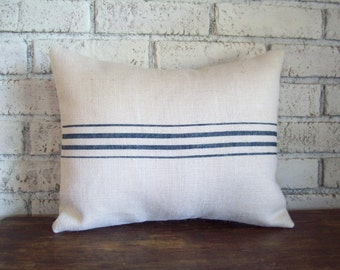 Striped Burlap Pillow Cover - Choose Your Colors and Size - Farmhouse Pillow - Beach Cottage Pillow - Grain Sack Pillow - Feedsack Pillow