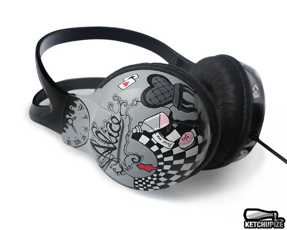 Alice in Wonderland Black and White Painted Headphones Made to Order