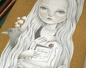 ON SALE Original Mixed Media Art, Surreal Graphite Pencil and Gouache Drawing, Pop Surrealism Lowbrow