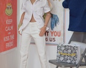 1/6th scale white female jeans pants trousers for female figures