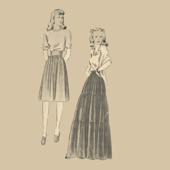 Plus Size 1940s Full Length Maxi Evening Skirt Pattern Butterick 1819 Dirndle Back Button Below Knee Size 18 Hip 39 Vintage Sewing Pattern
