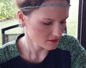 Pale Turquoise Green Silver Flower Beaded Halo Headband with Chain and Clasp, for weddings, parties, special occasions