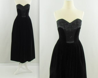 L'Ombre Noire Dress - Vintage 1980s Strapless Black Velvet Midi Party Dress by Laura Ahsley- XSmall Beaded LBD