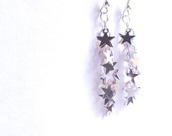 Galaxy earrings. Stars earrings silver. Earwires. Long dangle with tiny sparkling stars on chain. Dangle silver earrings.