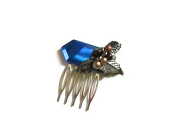 Hair Comb Upcycled Vintage Blue Mirror and Findings Great Gatsby