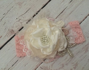 Baby Girl Headband- Baby Headband- Flower Girl Headband-Baptism Headband-Couture Headband