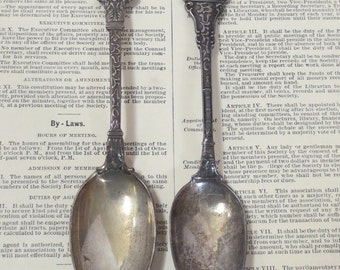 Two Antique Sterling Silver Buffalo Souvenir Spoons