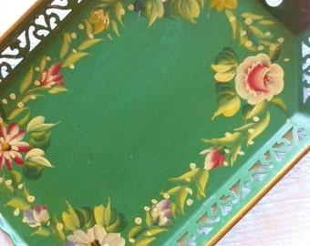 Vintage Cottage Home Fern Green Rose Tole Tray, Romantic Home, Olives and Doves