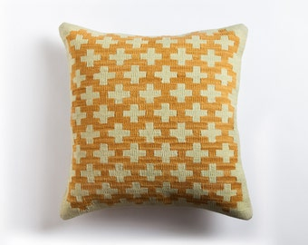 Graphic Kilim Pillow - Handwoven Naturally Dyed Wool Brooklyn Designed Turkish Made
