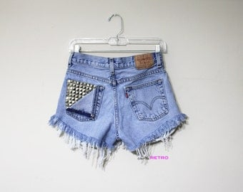 ALL SIZES Levis Studded Peek A Boo High Waisted Distressed Shorts