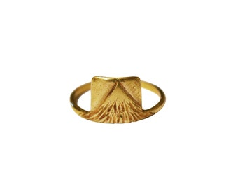 Earth Ring, Mountain Ring, Peak Ring, Nature Ring, Thin Ring, Gold Stacking Ring, Thin Silver Ring, Brass Ring, 14K Gold Ring, Square Ring