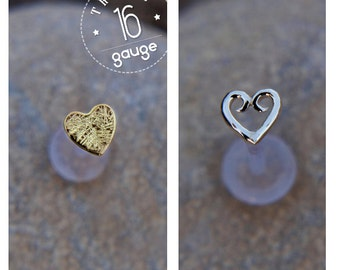 HEARTS TRAGUS SET Sterling silver and 24k gold plated /Labret /16 gauge/ BioFlex/tragus heart/ tragus earring/cartilage earring