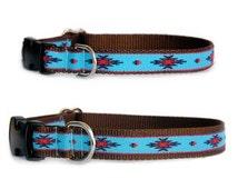 Designer dog collar & dog leash Small dog collar Large dog collar Turquoise red navy brown aztec Navajo Mexico Southwestern boy dog collar