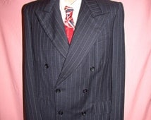 Vintage 1940's Wool Heather Blue Grey Pin Striped Double Breasted Suit 38R - 38L 1920s 1930s gangster gatsby swing