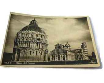 Pisa Italy Vintage Postcard . Piazza del Duomo . Vintage Postcards . Italian Postcard .
