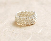 unique silver ring , ON SALE , criss cross ring , wide silver band ring , silver net ring , silver interwoven ring , unique promise ring