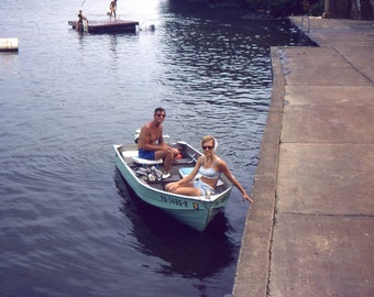 Vintage Kodachrome Slide..The Little Blue Dinghy..1967 Original Photo Slide, Vernacular Found, Altered Art, Mixed Media
