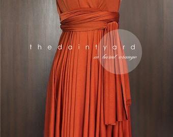 Short Straight Hem Burnt Orange Infinity Dress Multiway Dress Prom Dress Wedding Dress Convertible Dress Wrap Dress Maid of Honor Dress