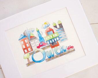 City Nursery Art - City Skyline Art - Custom Baby Painting - City Skyline Nursery Painting - City Children's Art - Boy Nursery Art