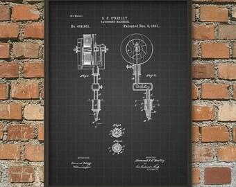 Tattoo Machine Patent Print - Tattoo Patent - Tattoo Gun Patent - Body Art - Tattoo Wall Art - Tattoo Artist - Tattoo Shop - Tattoo Ink