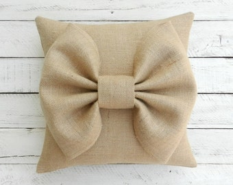 "Burlap Bow Pillow Cover - 16"" x 16"""