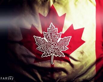 Far Sky Typographic Canadian Maple Leaf Sticker