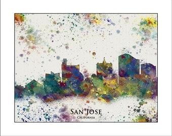 SAN JOSE Skyline, San Jose, CALIFORNIA, Map of San Jose, California Map, California Poster, California Print
