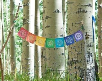 Chakra Prayer Flags | Sacred Geometry | Flower of Life | Bohemian Decor | Wall Hanging | House Warming | Yoga |
