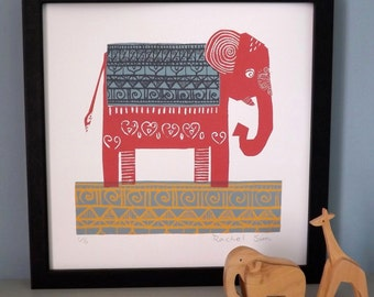 Pink Elephant Screen Print